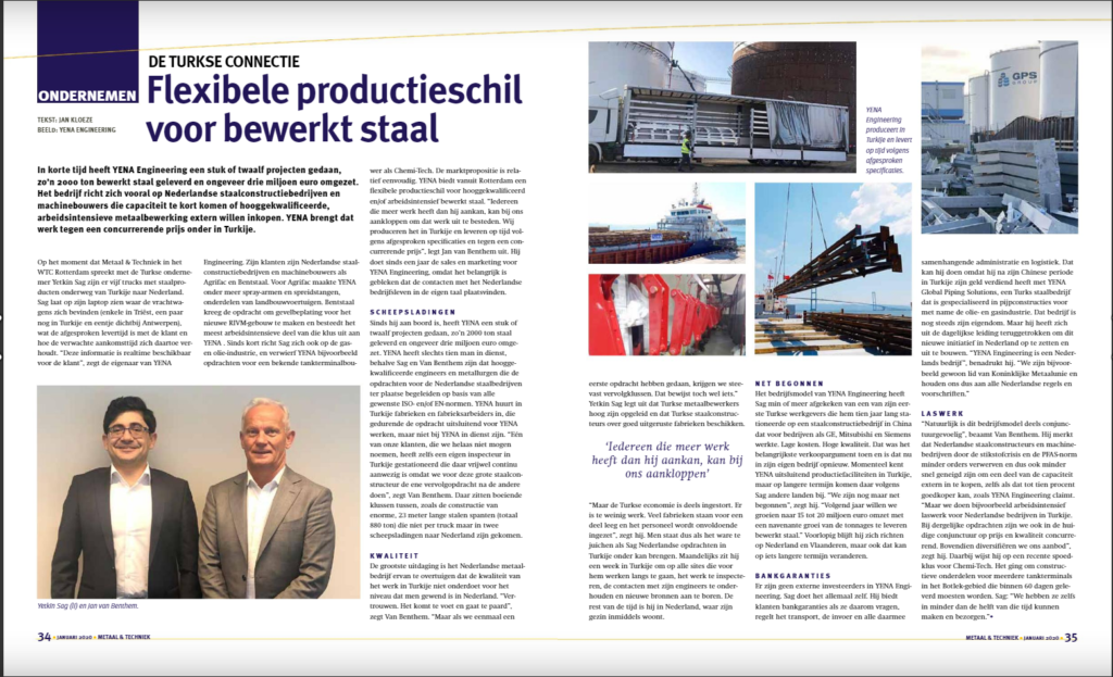 Yena Engineering Was Highlighted by Netherland's  Most Famous Metal Sector Magazines Metaal & Techniek