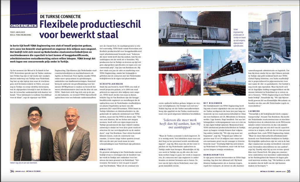 Netherland's most prestigious metal sector magazine Metaal & Techniek highlights Yena Engineering