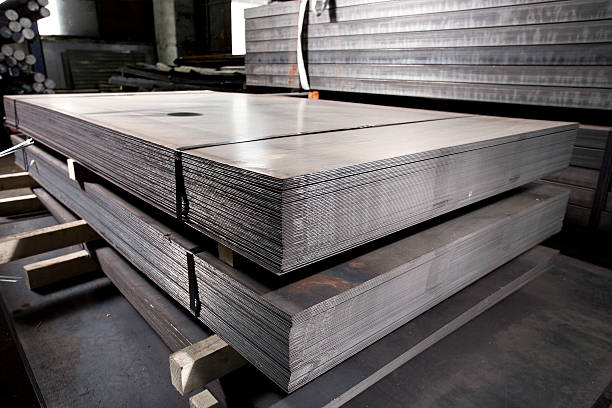 Sheet metals stacked in a warehouse