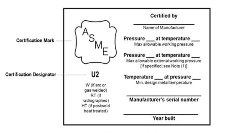 Voorbeeld van een naamplaatje voor ASME-certificering