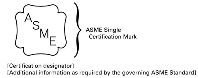 ASME Single Certification Mark and Placement of Certification Designator